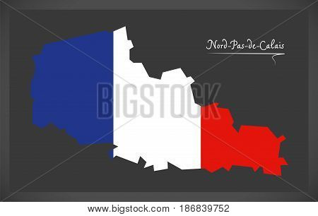 Nord-Pas-de-Calais map with French national flag illustration poster