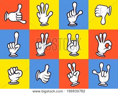 Cartoon hands showing different signs icon set. Funny emoticon gesturing, making signals by hands, sign language, comic isolated vector illustration. Thumb up, pointing, thumb down, ok, fist gesture