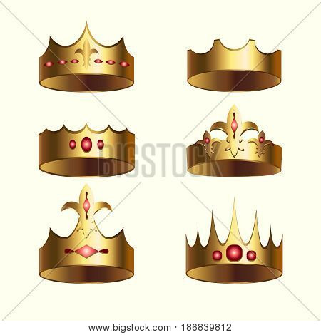 Golden crown of kingdom isolated set. Heraldic monarchy symbol, beautiful royal 3d design element for label, certificate or diploma. King, queen, prince or princess attribute vector illustration.
