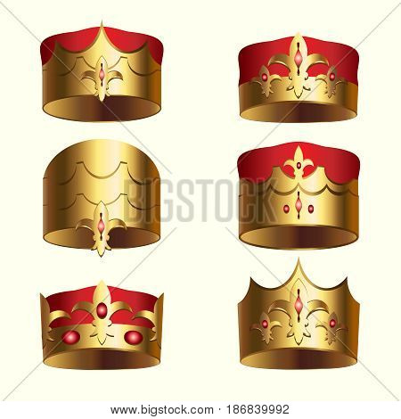 Golden royalty crown isolated set. Medieval heraldic symbol, beautiful monarchy 3d design element for label, certificate or diploma. King, queen, prince or princess attribute vector illustration.