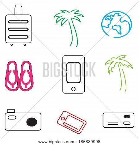 Travel icons in simple style on a white background