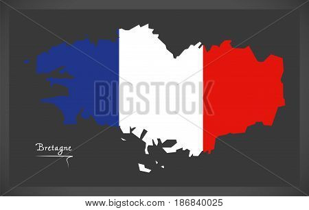 Bretagne Map With French National Flag Illustration