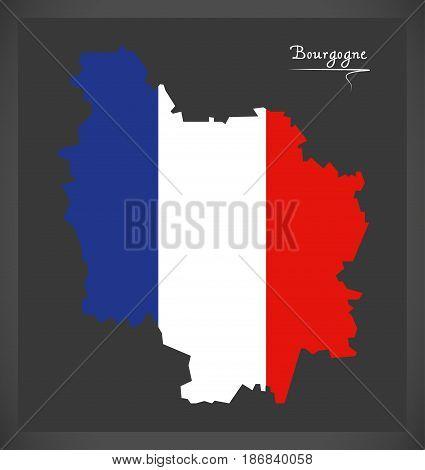 Bourgogne Map With French National Flag Illustration