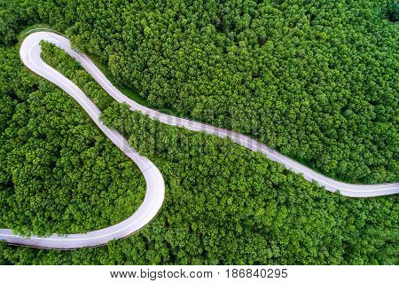 Aerial View Of A Provincial Road Passing Through A Forest ιn Chalkidiki, Northern Greece