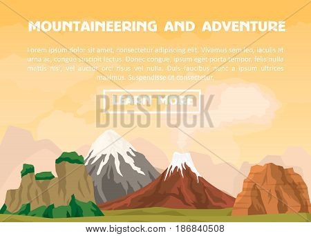 Mountaineering and outdoor adventure banner vector illustration. Nature landscape with ancient volcano and ice mountain range. Tourism organization, professional alpinism, extreme travel and hiking