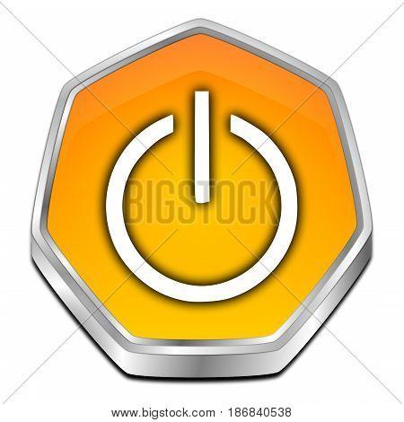glossy orange Power Button - 3D illustration