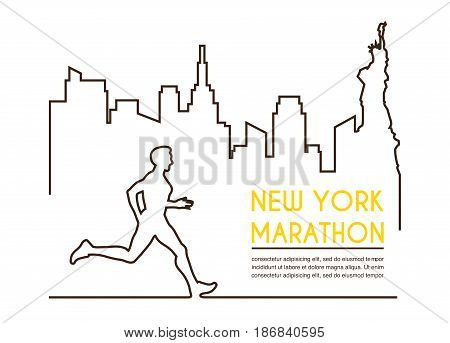 Line silhouettes of male runner. Running marathon, poster design. Vector illustration