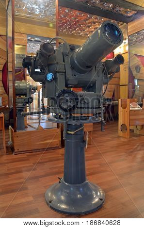 Soviet special telescope for filming mssiles flight and interception.Museum of former Soviet anti-ballistic missile testing range Sary Shagan.May 10, 2017.Priozersk.Kazakhstan