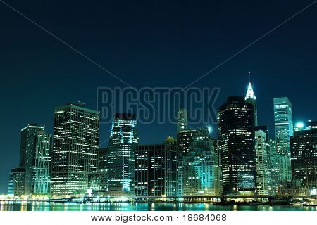 A View of Manhattan Skyline from Brooklyn At Night, New York City
