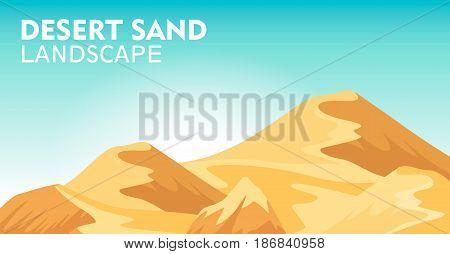 Desert sand landscape background vector illustration. Blue sky and yellow sand dunes, dry desert mountain sandstone under sun backdrop. Outdoor adventure, nature travel and tourism banner.