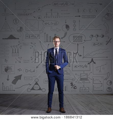 Businessman standing on a schematic background. Business and office, concept.