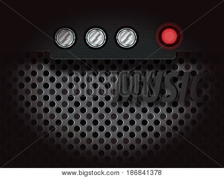 amplifier with audio controls and the red indicator light gray mesh for music and backgrounds