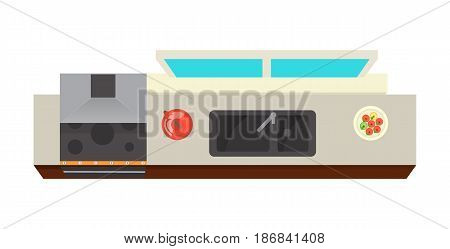 Top view kitchen interior element isolated on white background vector illustration. Apartment furniture design with stove, air extractor, table in flat design