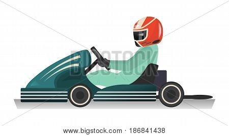 Karting sportsman icon isolated vector illustration. Extreme auto sport competition, road trophy race championship, driver racing on go kart.