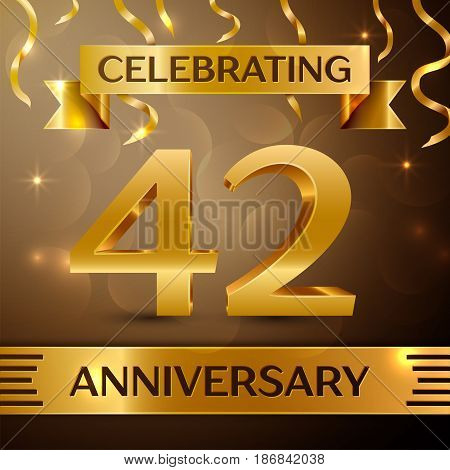 Forty two Years Anniversary Celebration Design. Confetti and gold ribbon on golden background. Colorful Vector template elements for your birthday party. Anniversary ribbon