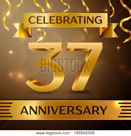 Thirty seven Years Anniversary Celebration Design. Confetti and gold ribbon on golden background. Colorful Vector template elements for your birthday party. Anniversary ribbon