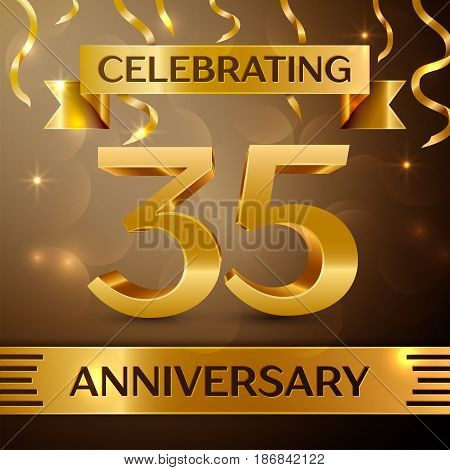 Thirty five Years Anniversary Celebration Design. Confetti and gold ribbon on golden background. Colorful Vector template elements for your birthday party. Anniversary ribbon