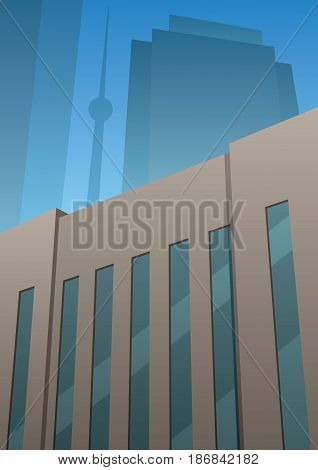 Cartoon tall building in Art Deco style.