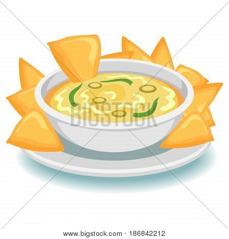Vector Illustration of Nachos with Dip on plate