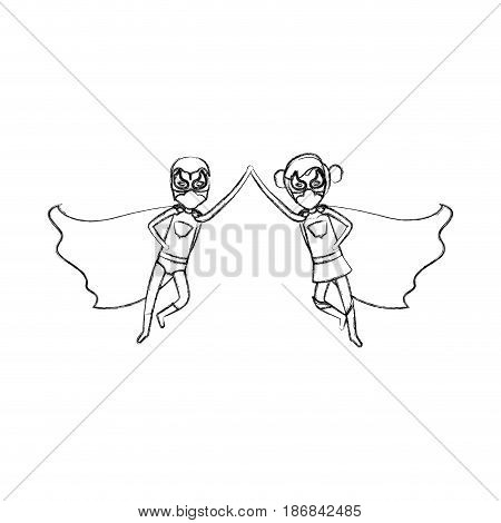 monochrome blurred contour faceless of duo of superheroes flying united of the hands and her with collected hair vector illustration