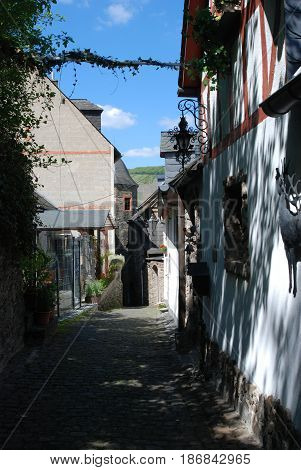 looking down old historic lane in Beilstein Germany