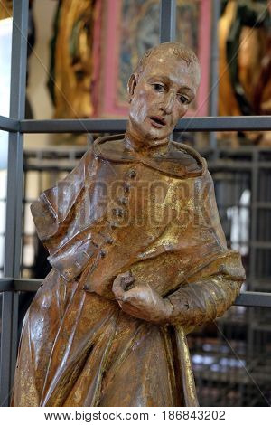 ZAGREB, CROATIA - FEBRUARY 15: Saint Stephen, altar of St. Stephen and St. Donatus, from the church of St. Mark, Zagreb, Croatia, on February 15, 2015.