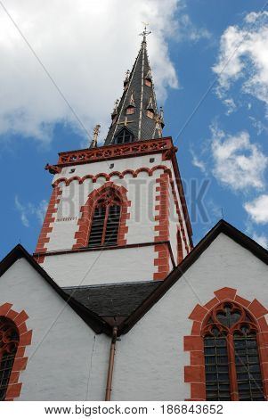 historic church and spire in Ediger Mosel Germany