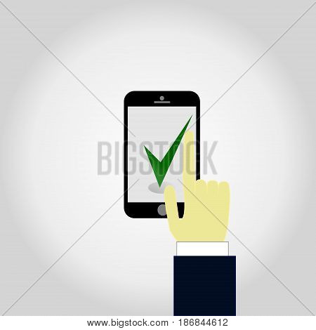 Hand holding smartphone with check mark icon on screen. Green checkmark. Finger touches display. Modern thin line flat design graphics elements for banners, websites, mobile apps.