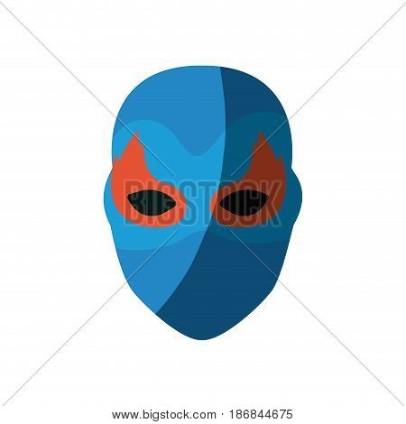 colorful silhouette with faceless female superhero with mask and flame eyes and without contour vector illustration