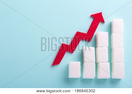 Increase in blood sugar levels the graph of growth from sugar cubes and the arrow top. Diabetes. Empty place for text copy paste