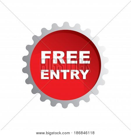 Free entry rubber stamp on white background, vector illustration.