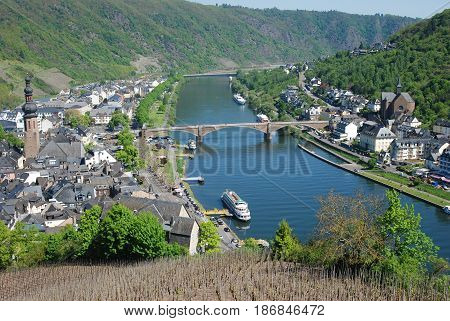 view of the Cochem & river Mosel from Burg in germany