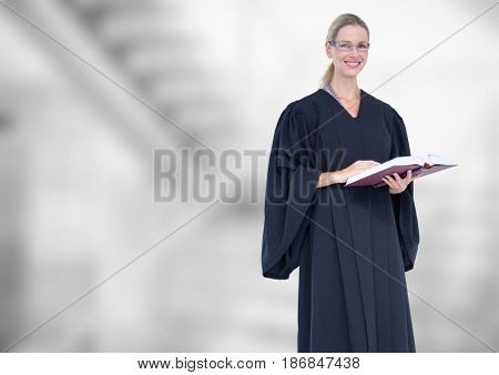 Digital composite of Judge holding book in front of bright staircase