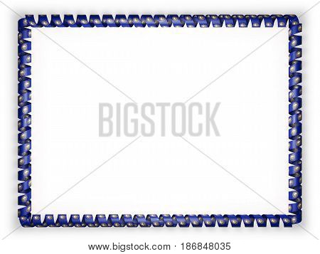 Frame and border of ribbon with the state New Hampshire flag USA. 3d illustration