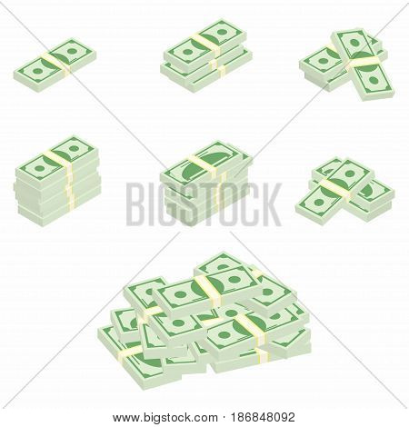 Dollars. Packages of banknotes in various angles. Different stacks and piles of cash. Vector