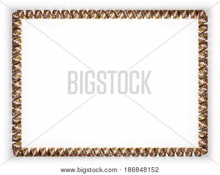 Frame and border of ribbon with the state Maryland flag USA edging from the golden rope. 3d illustration