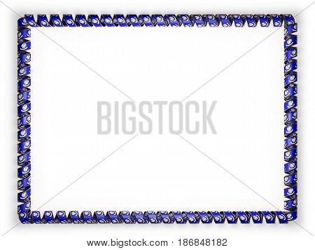 Frame and border of ribbon with the state Louisiana flag USA edging from the golden rope. 3d illustration