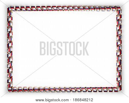 Frame and border of ribbon with the state Iowa flag USA edging from the golden rope. 3d illustration