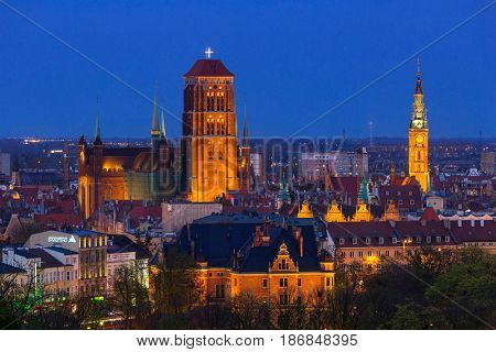 GDANSK, POLAND - MAY 6, 2016: Beautiful city center of Gdansk at night, Poland. Gdansk is the historical capital of Polish Pomerania with medieval old town architecture.
