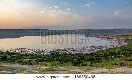Wide angle panorama of lake with saltmines