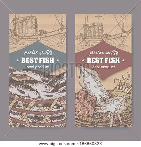 Set of two labels with fishing boat, color fish and seafood basket placed on cardboard texture. Great for markets, fishing, fish processing, canned fish, seafood product label design.