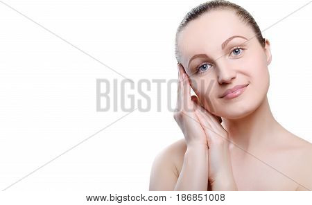 Portrait Of A Girl With Nude Make-up With Hands Near Her Face Isolated On White Background. Girl Wit