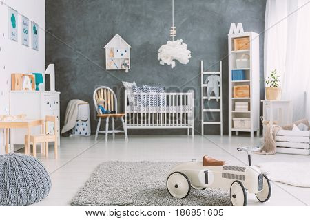 Kids Room With Grey Wall