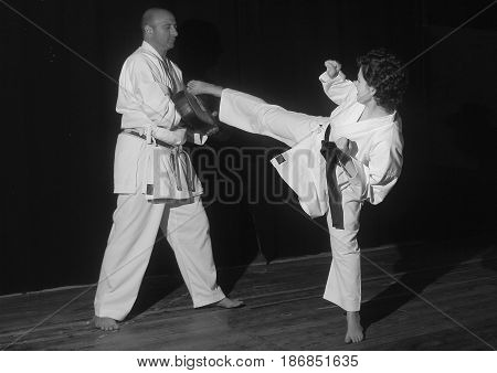 Black and White Karate Techniques with Master War Marco C.N. 6 days and his pupil.