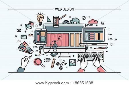 Web development, line art banner. site with responsive design. colorful flat vector illustration
