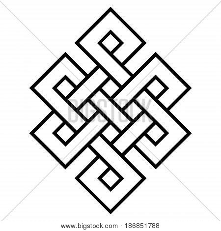 cultural symbol of buddhism endless knot, vector buddhist religious symbols , with mantra om mani padme hum