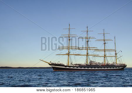 SAILING VESSEL - A four-masted barque on the Baltic Sea