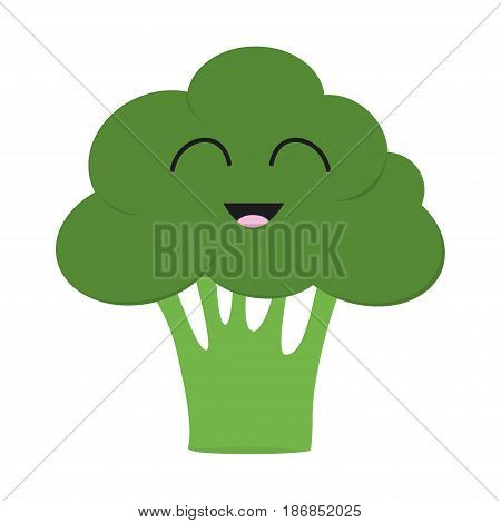 Broccoli icon. Green color. Vegetable collection. Fresh farm healthy food. Smiling face. Cute cartoon character. Education card for kids. Flat design. White background. Isolated. Vector illustration