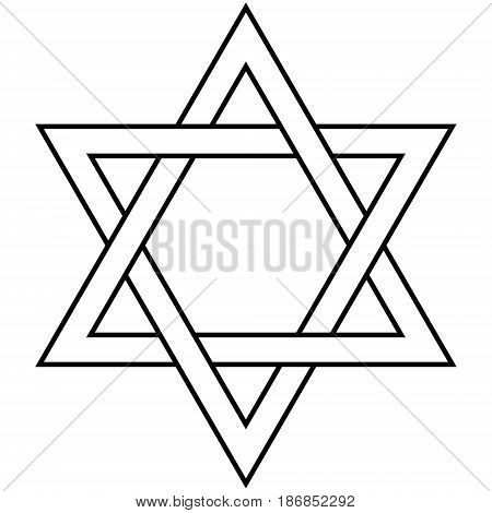 Star of David Icon Vector Illustration Symbol Israel Judaism hexagram two overlapping triangle