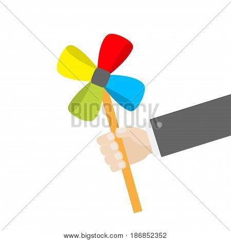 Businessman hand holding paper windmill pinwheel toy on stick. White background. Isolated. Flat design Vector illustration